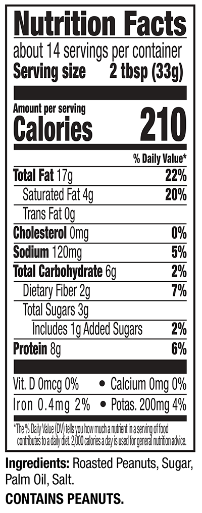 Creamy Natural Peanut Butter Nutrition Facts Panel