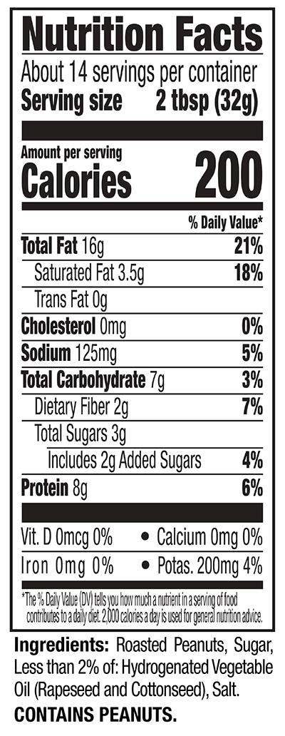 Creamy Regular Peanut Butter Nutrition Facts Panel