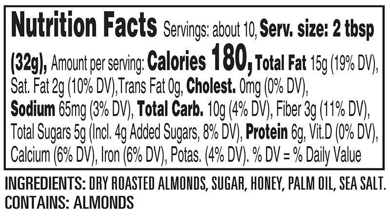 Peter Pan Honey Roast Almond Butter Nutrition Facts Panel