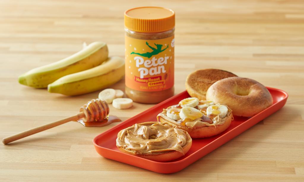 Peter Pan Honey Roast Creamy Peanut Butter served on bagels